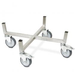 Transportroller für Rundbehälter, Tonnen und Reifen bis Ø 680 mm aus Edelstahl