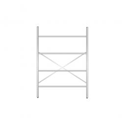 Aluminiumregal mit 4 Gitterböden, Stecksystem, BxTxH 1400 x 500 x 2000 mm, Nutztiefe 480 mm
