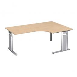 Schreibtisch PREMIUM, Tischansatz rechts, Buche/Silber, BxTxH 1800x800/1200x680-820 mm