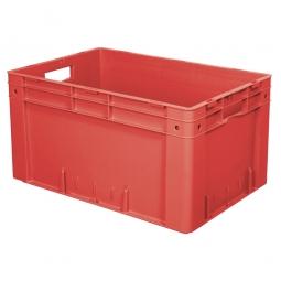 Schwerlast-Eurobehälter, geschlossen, PP, LxBxH 600 x 400 x 320 mm, 60 Liter, 2 Durchfassgriffe, rot