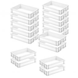 12x Euro-Stapelbehälter + 4 Behälter GRATIS, Farbe weiß, LxBxH 600 x 400 x 120 mm