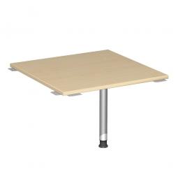 Verkettungsplatte, Volleck 90° Komfort, Gestell silber, Dekor Ahorn, BxT 800x800 mm