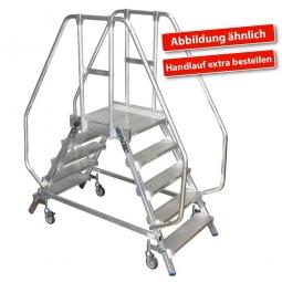 Leichtmetall-Podestleiter, Beidseitig besteigbar, mit 2x 4 Aluminiumstufen