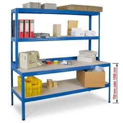 Werkbankregal mit Regalaufsatz und Regalboden, Gesamtmaße BxTxH 1800 x 600/300 x 1800 mm