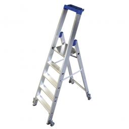 Alu-Stufenleiter mit 5 Stufen, fahrbar, Standhöhe 1200 mm, max. erreichbare Arbeitshöhe 3200 mm