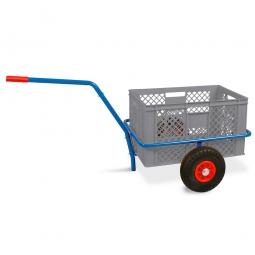 Handwagen mit Kunststoffkorb, H 320 mm, grau, LxBxH 1250 x 640 x 660 mm, Tragkraft 200 kg