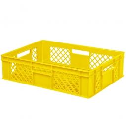 Eurobehälter mit 4 Durchfassgriffen, LxBxH 600 x 400 x 150 mm, 27 Liter, gelb