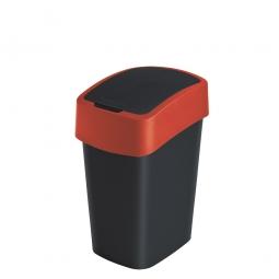 Abfallbehälter mit Schwing- oder Klappdeckel, PP, BxTxH 189x235x350 mm, Inhalt 10 Liter, schwarz/rot