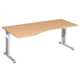 PC-Schreibtisch ELEGANCE links, höhenverstellbar, Dekor Buche, Gestell Silber, BxTxH 1800x1000x680-820 mm