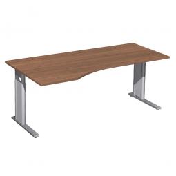 Schreibtisch PREMIUM höhenverstellbar, links, Nussbaum/Silber, BxTxH 1800x800/1000x680-820 mm