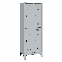 Stahl-Fächerschrank mit Füßen und Drehriegelverschluss, 4 Fächer, HxBxT 1850 x 810 x 500 mm