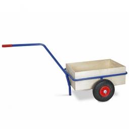 Handwagen mit Holzkasten, Tragkraft 200 kg, kunststoffbeschichtet in Farbe blau RAL 5010
