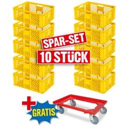 10x Euro-Stapelbehälter + 1 Transportroller GRATIS, Farbe gelb, LxBxH 600 x 400 x 240 mm