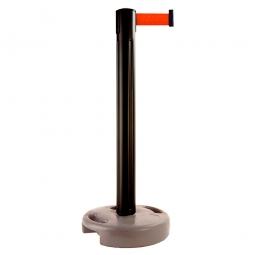 Mobiler Pfosten mit Absperrgurt, Pfosten schwarz, Gurt rot, Höhe 970 mm