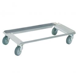 Alu-Transportroller für Stapelbehälter 800 x 400 mm, graue Gummiräder, Deck offen, Tragkraft 250 kg