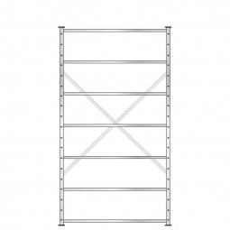 Fachbodenregal mit 7 Böden, Stecksystem, Grundregal, doppelseitige Ausführung, BxTxH 1270 x 630 (2x 315) x 2300 mm, Oberfläche glanzverzinkt