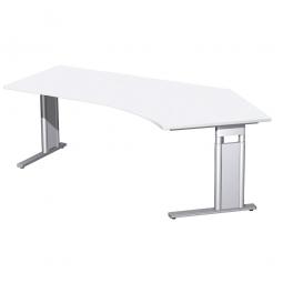Schreibtisch PREMIUM höhenverstellbar, 135° rechts, Weiß/Silber, BxTxH 2166x800/1130x680-820 mm