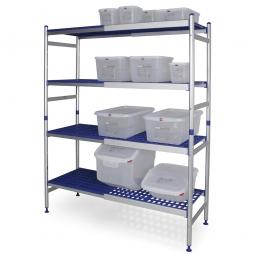 Aluminiumregal für den Hygienebereich, Stecksystem, BxTxH 1390-1840 x 475 x 1675 mm