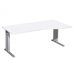 Schreibtisch PREMIUM höhenverstellbar, rechts, Weiß/Silber, BxTxH 1800x800/1000x680-820 mm