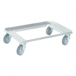 Edelstahl-Transportroller für 600 x 400 mm Behälter, graue Gummiräder, Deck offen, Tragkraft 250 kg