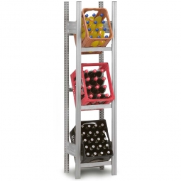 Getränkekistenregal, Grundregal, Stecksystem, BxTxH 560 x 335 x 1750 mm, verzinkt