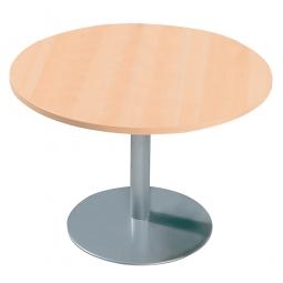 Konferenztisch mit Säulenfuß, alusilber, Platte Ahorn, Ø 1000 mm, Höhe 720 mm