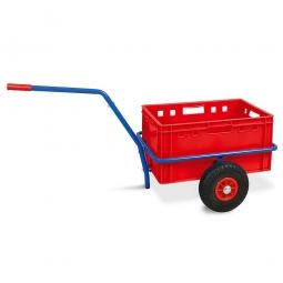 Handwagen mit E2 Kunststoffkasten, H 300 mm, rot, LxBxH 1250 x 640 x 660 mm, Tragkraft 200 kg