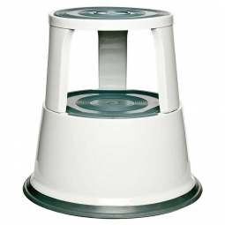 Rollhocker aus Stahlblech, weiß, Tragkraft 150 kg, ØxH 290/440x430 mm