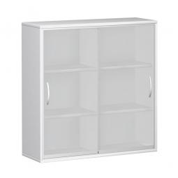 Glas-Schiebetürschrank PRO 3 Ordnerhöhen, weiß, BxHxT 1600x1152x425 mm