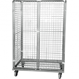 Stahlrohrbehälter 3-seitig mit 2 abschließbaren Türen, LxBxH 1200 x 800 x 1820 mm