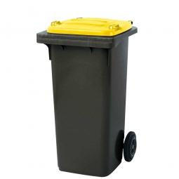 120 Liter MGB, Müllbehälter in anthrazit mit gelbem Deckel
