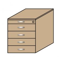 Standcontainer, 5 Schubladen, Wildeiche, BxTxH 435x800x680-740 mm