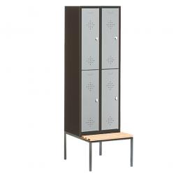 Stahl-Fächerschrank mit untergebaute Sitzbank und Drehriegelverschluss, 4 Fächer, HxBxT 2090 x 810 x 500/815 mm