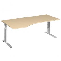 PC-Schreibtisch ELEGANCE links, höhenverstellbar, Dekor Ahorn, Gestell Silber, BxTxH 1800x1000x680-820 mm
