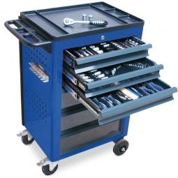 Werkstattwagen, Farbe enzianblau, mit Werkzeugset, LxBxH 950x610x450 mm, Tragkraft 240 kg