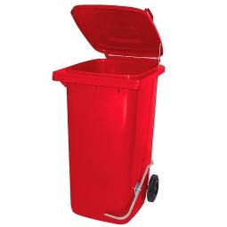 Müllbehälter 240 Liter, rot, mit Fußpedal, HxBxT 1075x580x730 mm, Niederdruck-Polyethylen (PE-HD)