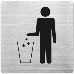 "Hinweisschild ""Müllentsorgung"", Edelstahl, HxBxT 90 x 90 x 1 mm"