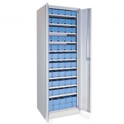 Schrank mit Regalkästen taubenblau, LxBxH 400 x 117 x 90 mm, Türen in lichtgrau RAL 7035