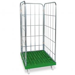 Gitterrollwagen für Eurobehälter, LxBxH 815x682x1660 mm, 3-seitig, grün