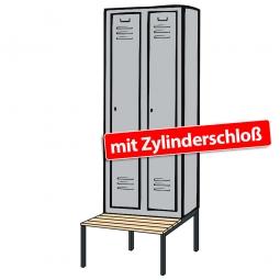 Kleiderspind mit untergebauter Sitzbank und Zylinderschloss, HxBxT 2090x610x500/815 mm