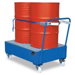 Fahrbare Stahl-Auffangwanne mit Gitterrost, Auffangvolumen 210 Liter, Tragkraft bis 950 kg