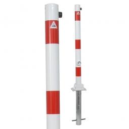 Absperrpfosten, sichtbare Höhe 900 mm, Rundrohr-Ø 60 mm, umklappbar Ausführung, mit Bodenhülse
