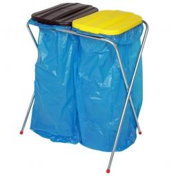 Leichter Wertstoffsammler,HxBxT 810x660x410 mm, Mit 2 Deckeln eckig, für 2x 70 o. 120 Liter-Müllsäcke
