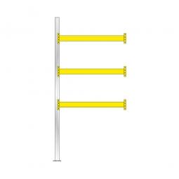 Paletten-Anbauregal für 8 Europaletten, Tragbalkenebenen mit 38 mm Spanplattenböden, Fachlast 2200 kg/Tragbalkenpaar, BxTxH 1885 x 1110 x 4000 mm