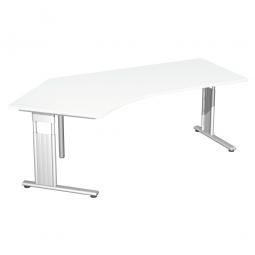 Schreibtisch ELEGANCE 135° links, feste Höhe, Dekor Weiß, Gestell Silber, BxTxH 2166x800/1130x720 mm