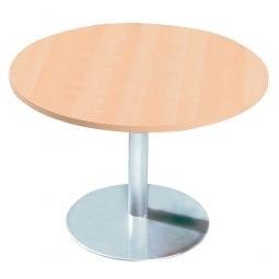 Konferenztisch mit Säulenfuß, verchromt, Platte Ahorn, Ø 800 mm, Höhe 720 mm