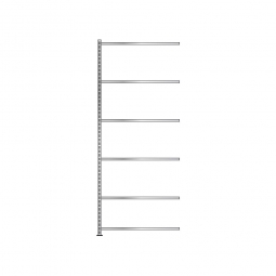 Fachboden-Anbauregal mit 6 Fachböden, Schraubsystem, glanzverzinkt, BxTxH 1003 x 306 x 2500 mm, Tragkraft 150 kg/Boden