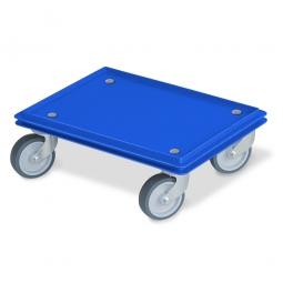 Transportroller für 400 x 300 mm Eurobehälter, geschlossenes Deck, 4 Lenkrollen, graue Gummiräder, blau