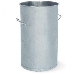 Stahl-Mülltonne, Volumen 100 Liter, feuerverzinkt, HxØ 835x420 mm, 2 Tragegriffe