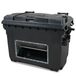 Streugutbehälter mit Entnahmeöffnung, Inhalt 660 Liter, anthrazitgrau, BxTxH 1360 x 765 x 1000 mm